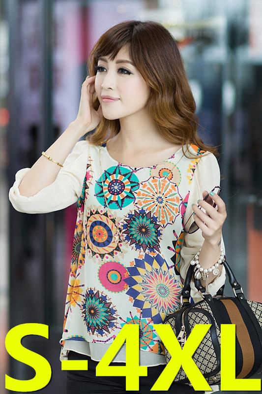 Женские блузки и Рубашки l/4xl blusas 8822 l 4xl h52