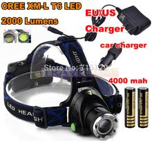 CREE LED Headlight Cree XM-L T6 LED 2000LM LED Headlamp light+AC Charger/Car charger/2x18650 4000mAh battery(China (Mainland))