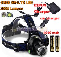 CREE LED Headlight Cree XM-L T6 LED 2000LM LED Headlamp light+AC Charger/Car charger/2x18650 4000mAh battery