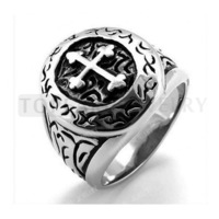 Topeal Jewelry 3pcs Mens Womens Stainless Steel Cross Ring Silver Vintage Black MER189