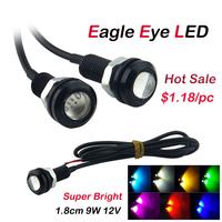 30pcs/lot Car LED Lights Auto Parking Light Eagle Eye 1.8cm 12V 9W Waterproof Daytime Running Lights 6 Colors Wholesale