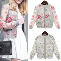 Casaco Feminino 2014 Autumn Summer Jackets Women Printed Organza Women's Coats Kimono Jacket Free Shipping WWW161