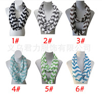 Hot Sale ! New Womens Girls Light Large Chevron Infinity Scarf Eternity Zig Zag Stripe Loop 160*50  ab482