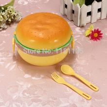 Single Microwave Tableware Lunch Box Portable for Elle Romantic Hamburger Shape  Free Shipping(China (Mainland))