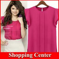 Freeshipping 2014 New Loose Sexy women chiffon t-shirts S-XL candy color Casual Fashion O-neck Women