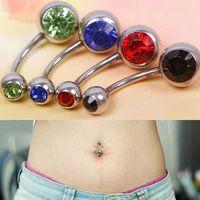 5pcs Rhinestone Ball Navel Belly Button Bar Rings Body Jewelry Piercing #57447