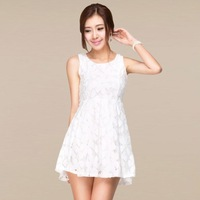 Fast / Free Shipping Sleeveless Knee-length Hollow Out Slim Elegant Summer Fashion Women's Plus Size Casual White Lace Dress