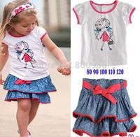 Retail Children Clothing Summer Set girls short sleeves cartoon tops top t shirt shirts + jeans skirts skirt  for kids XZQ