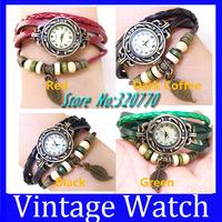 10Pcs! Fashion Leather Vintage Watch Bracelet Wristwatches Synthetic For Women/Men Dress Quartz Multi-Colors Leaf Dropshipping!