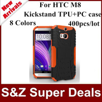 400pcs Big Discount cell phones robot armor kickstand case for HTC one M8