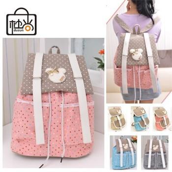 DUSUN Printing dot cover school bags for girls Розовый Женщины backpack canvas Детский ...