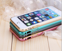 Luxury 0.7mm Ultra-thin Cambered Double Colors Hippocampal Buckle Metal Bumper case For iphone 5s 5 MOQ:20pcs Free shipping