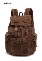 Vintage Canvas Cow Leather Hiking Travel Military Backpack Bag Rucksack GL Sale