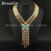 2014 New Ancient Egypt Style Statement Jewelry Fashion Chunky Chain Welding Turquoise Long Necklaces Women Evening Dress CE2189(China (Mainland))
