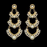 2014 freeshipping trendy women pearl rushed  jewelry earings  for women brincos heart-shaped earrings er-017491