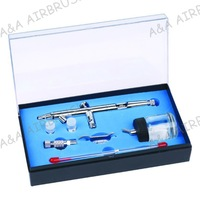 JP182T Dual Action Airbrush Suction Fed 22cc Jar, One Kit with 0.3mm 0.5mm 0.8mm Nozzles & Needles