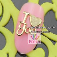 New Free Shipping Wholesale/ Nails Supplier, 50pcs Gold I Love U Rhinestone Alloy DIY UV Gel Polish Gems Nail Art, Manicure Tool