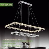 Free shipping hot sale double rectangle modern led crystal chandelier lustres e pendentes light luminarias para sala lighting