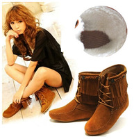 2014 NEW winter women's wool warm snow boots 35-40, 3 color Increased within tassel boot short boots Martin boots for women,