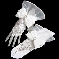 2014 Hot Selling Gloves For Wedding Bridal Glove Wedding Accessories White/Beige Luvas Para Noivas Wedding Dress Gloves