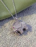 925 silver elephant pendant necklace short micro inlay zircon