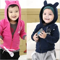 Children Clothing Spring Autumn Brushed Cardigan Sweater Kids Baby Boy Girl  Full Zipper Hoodies Sweatshirts 5pcs/lot