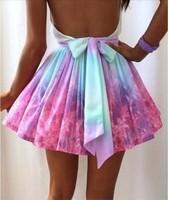 Women FULL-SKIRTED tie dye skater skirt lovegirl Fashion Irregular galaxy sexy skirt Mini Ball Gown Skirts