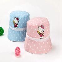 Retail children summer outdoor popular cartoon fishing cap girl fashion hello kitty bucket hat 50cm 52cm