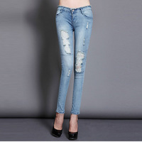 skinny jeans woman size S M L mid-rise blue color high elastic,cool sexy zipper decoration,ripped hole slim sexy shaping pencil
