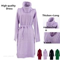New 2015 fashion women brand winter bandage long dress thick turtleneck pullovers crochet sweaters dresses casacos femininos