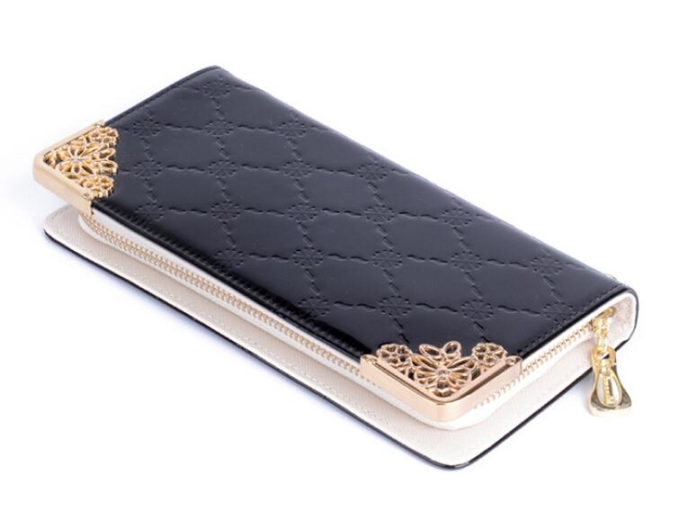 Version coréenne long femmes portefeuille en cuir verni gaufreur holding carré. sac pochette téléphone mobile