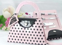 64pcs=16set/LOT Pink Polka Dot Purse Manicure Set favor wedding bridal shower favors and gifts