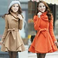 Free shipping Trench female 2014 autumn and winter woolen outerwear overcoat woolen sweet women's Frozen dress  Wool Blends Coat