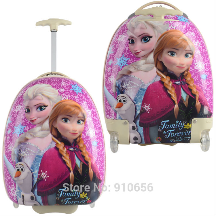"1X 2014 Frozen anna elsa designer Cuties 17"" travel suitcase kids trolley case cartoon rolling PC luggage Pink Free shipping(China (Mainland))"