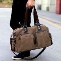 2014 fashion new Korean men's casual shoulder bag convenient travel large canvas handbag genuine men travel bags free shipping