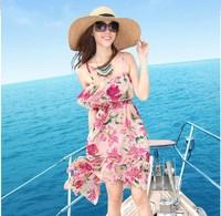 2014 New summer floral print dress casual irregular party dresses women's vintage bohemian ruffles chiffon beach dress
