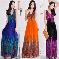 Summer dress casual bohemia vintage ice silk long dress sexy v-neck beach dress desigual floral print vestidos plus size