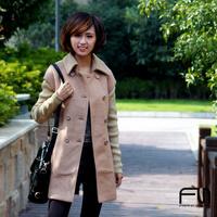 Slim woolen khaki wool thick female overcoat outerwear 1090 plus size