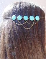 Bronze Headband. Draped Statement Hair Jewelry. Turquoise Headband
