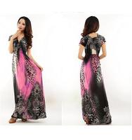 The new beach skirt in summer Leopard grain drag ground wave Bohemia dress