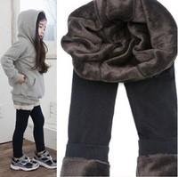 Single Thickening Thermal Black Velvet Ankle Length Trousers Warming Winter Legging BootCut For 4-12T Girl Kids