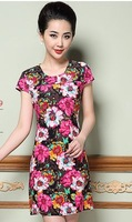 size L-4XL 2014 New Summer Korean Cultivating Dress The Middle-aged Woman Saika Short Sleeved Dress 5011