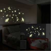 [Saturday Mall - glow in the dark wall sticker Cosmic Star Spaceship cartoon DIY kid's room decoration home decals luminous 0035