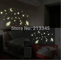 [Saturday Mall - glow in the dark wall sticker Cosmic Star Spaceship cartoon DIY kid's room decoration home decals luminous 0035