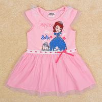 Free Shipping New Design Children Dress Princess Sofia Dresses Fashion Girl's Clothing Sleevelss Girls Summer Dress