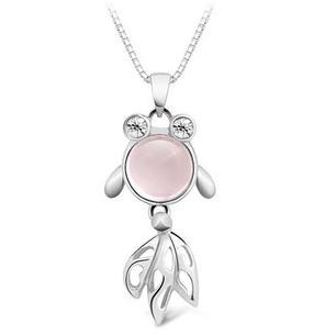 Free shipping 2014 new arrival cute goldfish design 925 sterling silver female pendant necklaces jewelry wholesale price(China (Mainland))