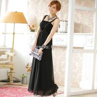 Free Shipping Uncommon Fashion Pink Chiffon Evening Dress Black New 2014