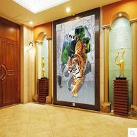 3d mural custom, personalized wallpaper mural hotel bar KTV dimensional diagram Tiger Poqiang