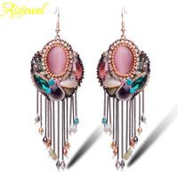 2014 Luxury Gold Plated Bohemia Ethnic Handmade Crystal Oval Pink Opal Drop Earrings Tassel Fashion Earing For Women 2014