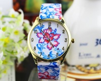 HOT fashion women leather bracelet flower design smart quartz wristwatches casual geneva watches dress watch